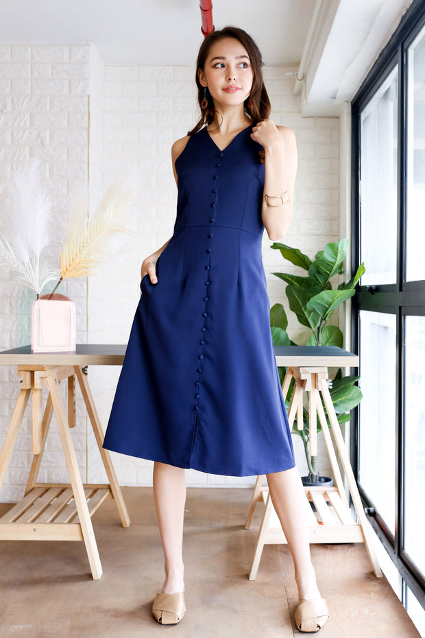 Corine Sleeveless Midi Dress – Navy