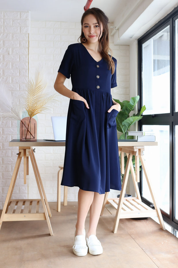 Lyla Babydoll Dress – Navy