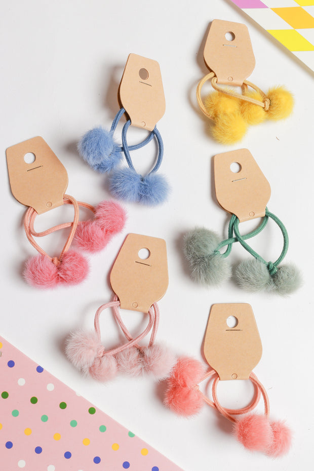Hanni Paired Pompom Hair Tie – Multi Colour