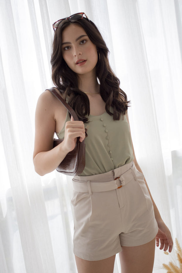 green sage button camisole thin strap polyester