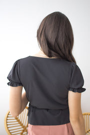 black polyester overlap wrap tie top ruffle frill sleeve v neck