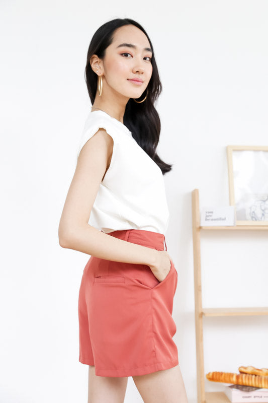*Restocked* Jolis Shoulder Padded Top – White