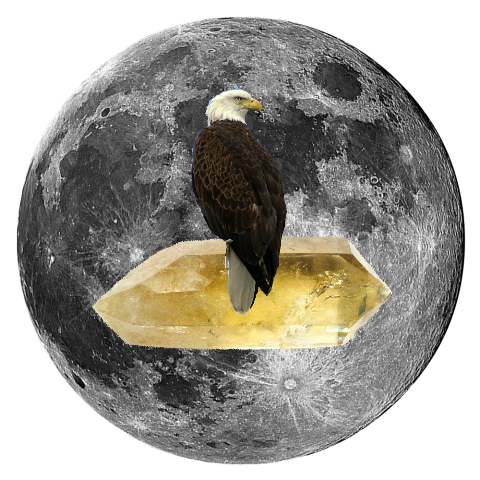 "Bald Eagle and Citrine 5"" x 5"" Full Moon Oracle Print"