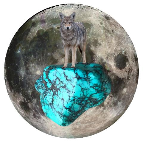 "Coyote and Turquoise 5"" x 5"" Full Moon Oracle Print"