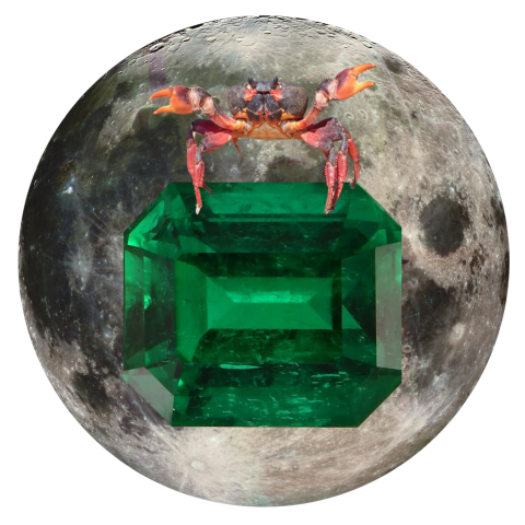 "Crab and Emerald 5"" x 5"" Full Moon Oracle Print"