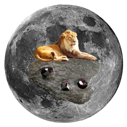 "Lion and Garnet in Schist 5"" x 5"" Full Moon Oracle Print"