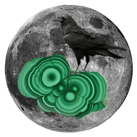 "Raven and Malachite 5"" x 5"" Full Moon Oracle Print"