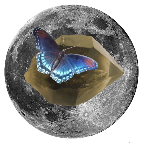 "Butterfly and Smoky Quartz 5"" x 5"" Full Moon Oracle Print"