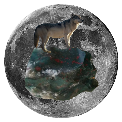 "Janurary 2019 Full Wolf Blood Moon Lunar Eclipse - Grey Wolf and Bloodstone Oracle Art 5"" x 5"" Print"