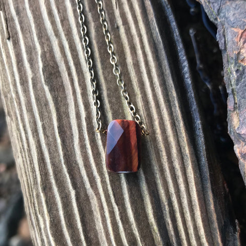 Red Tiger's Eye Faceted Briolette Necklace Sacral Chakra