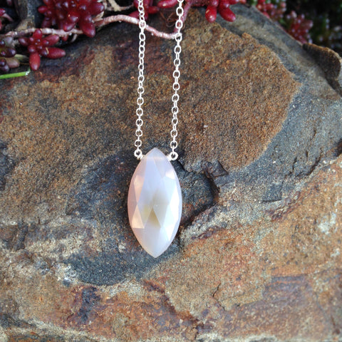 Grey Chalcedony Faceted Marquise Necklace