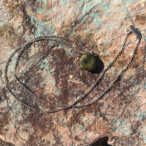 Green Serpentine Drop Necklace