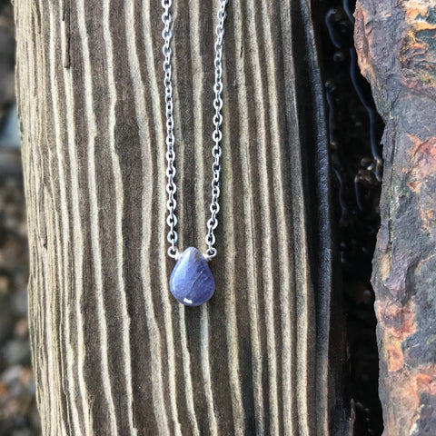Tanzanite Briolette Necklace Third Eye, Throat & Heart Chakra
