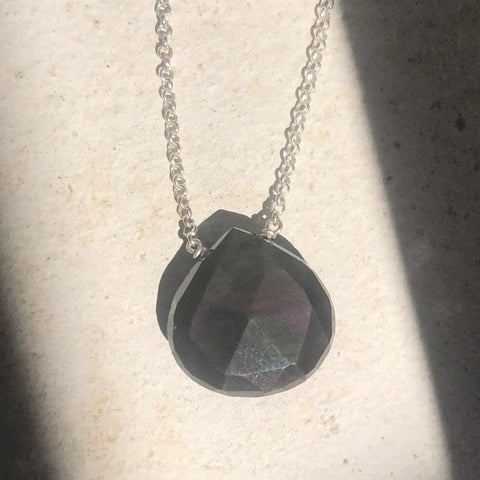 Rainbow Obsidian Sterling Silver Necklace