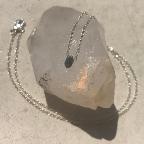 Raw Grey Diamond Necklace