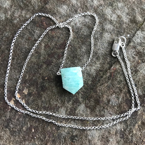 Faceted Amazonite Arrow Sterling Silver Necklace