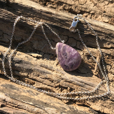 Charoite Drop Sterling Silver Necklace