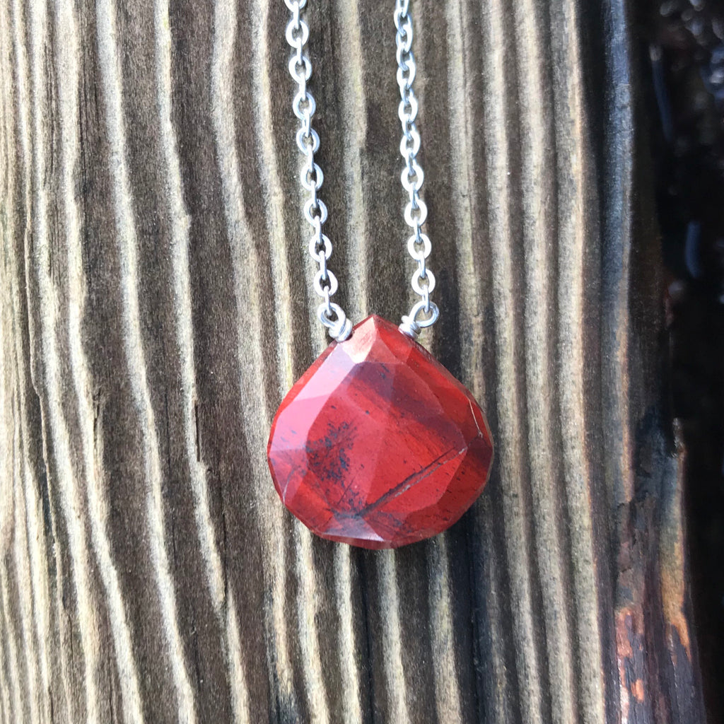 Red Jasper Faceted Briolette Necklace Root Chakra