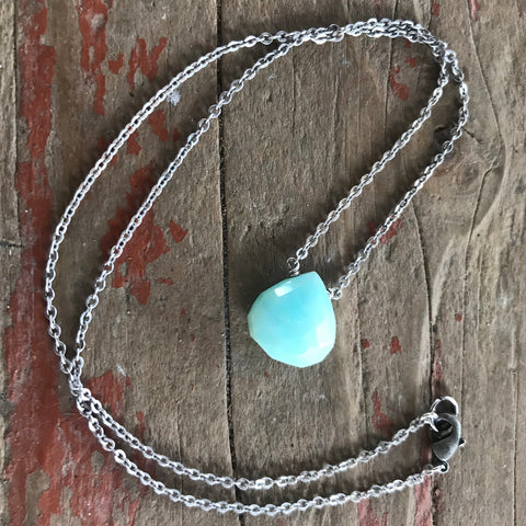 Peruvian Opal Faceted Briolette Necklace Throat Chakra