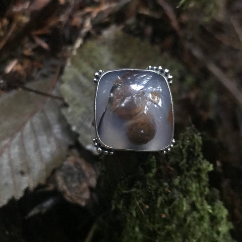 Blue Ice Polka Dot Agate Sterling Silver Ring