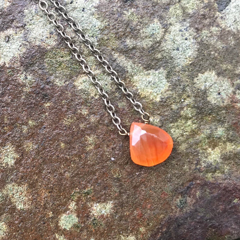 Carnelian Faceted Briolette Necklace Sacral Chakra