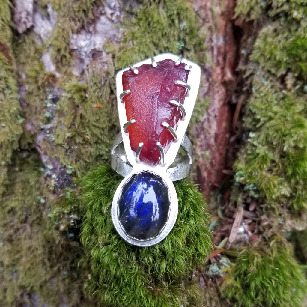 Washington Raw Carnelian Blue Labradorite Ring
