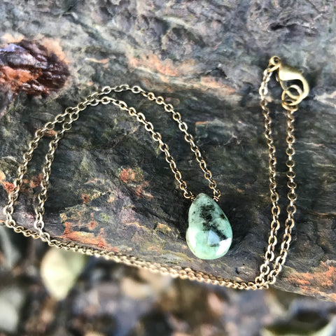 Emerald Faceted Briolette Necklace Heart Chakra