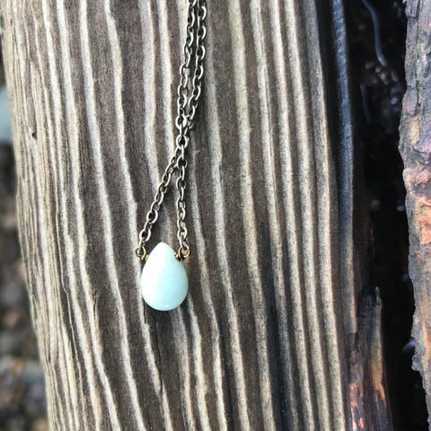 Aquamarine Briolette Necklace Throat Chakra