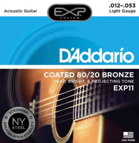 Encordado D'Addarío EXP11 para Guitarra Acústica 12-53 Coated