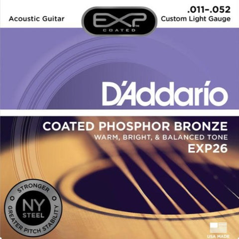 Encordado D'Addario EXP26 para Guitarra Acústica 11-52 Coated