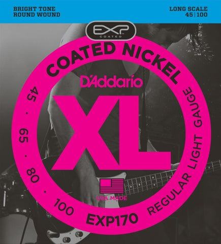 Encordado D'Addario EXP170 para Bajo 4 cuerdas 45-100 Coated