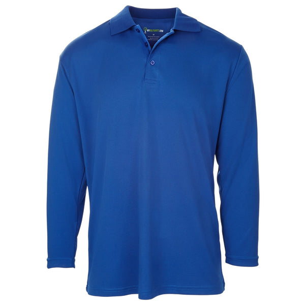 Men's Long Sleeve Golf Shirt - One-Color - Blue