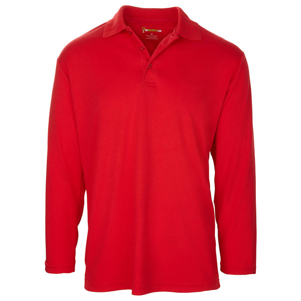 Men's Long Sleeve Golf Shirt - One-Color - Red