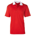 New Men's Bold Red Contrast Collared Golf Shirt S-3X