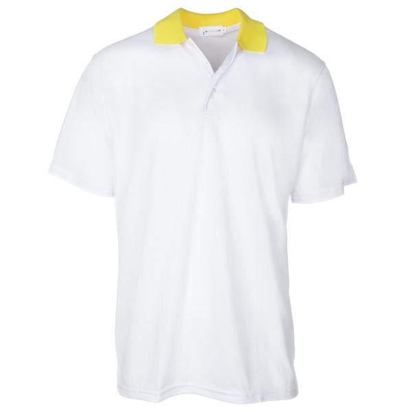 New Men's Bold White Contrast Yellow Collared Golf Shirt S-3X Short Sleeve Golf Shirt - mygolfshirts.com
