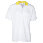 New Men's Bold White Contrast Yellow Collared Golf Shirt S-3X