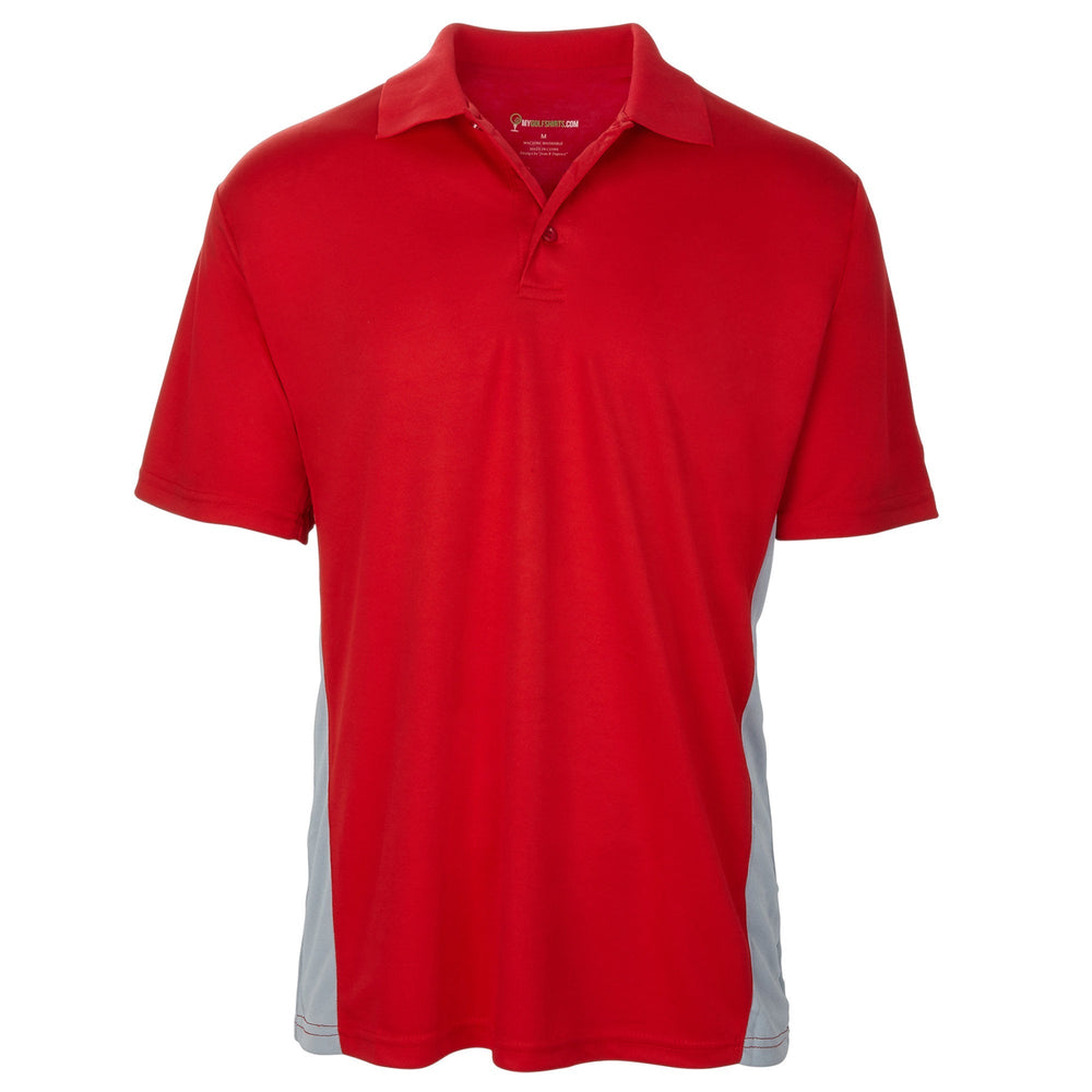 Dri-FIT Golf Shirts - Men's Bold Torso Contrasts - Standard Fit Short Sleeve Golf Shirt - mygolfshirts.com