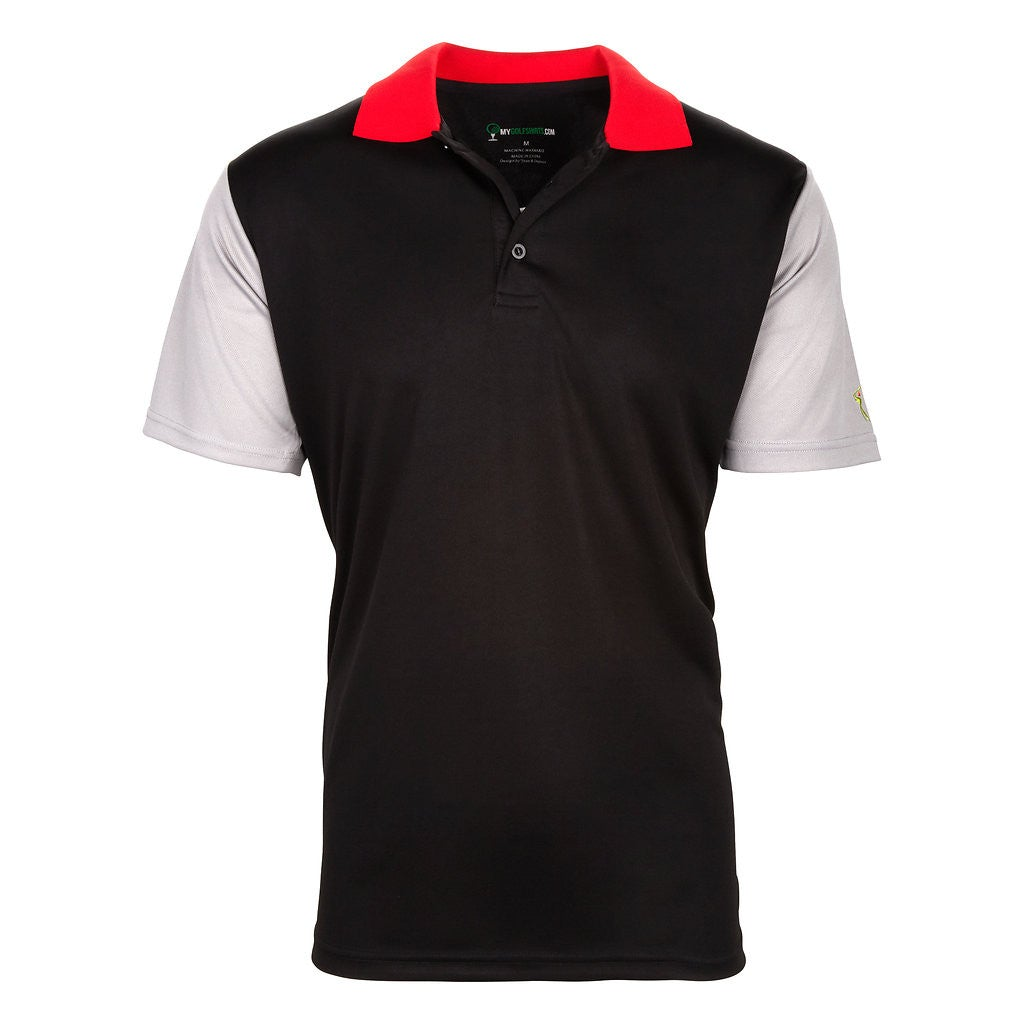 Men's Short Sleeve Tri-Color Golf Shirt- Black/Red/White
