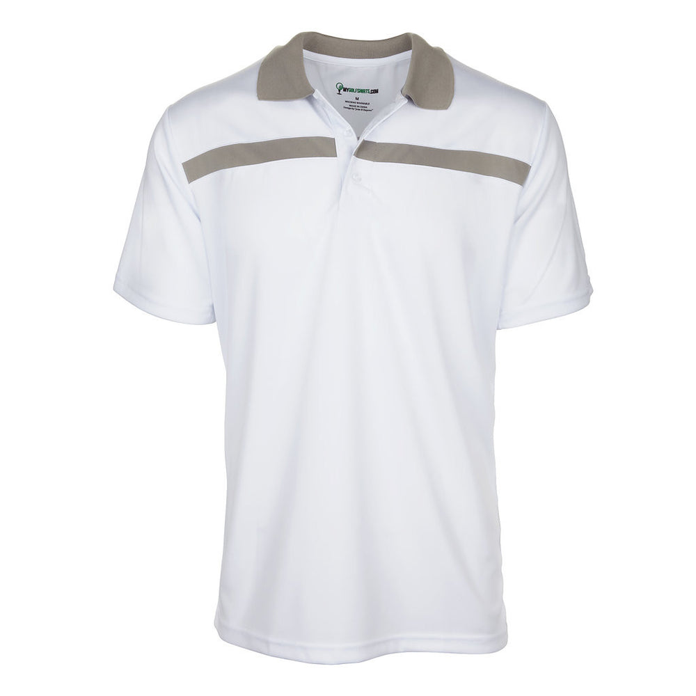 Men's Dri-Fit Bold Line Contrast Polo Golf Shirt Short Sleeve Golf Shirt - mygolfshirts.com