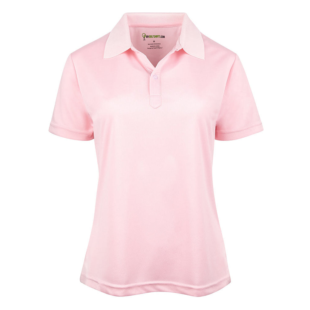Dri-FIT Golf Shirts - Classic Solid Pink - Slim French Cut Short Sleeve Golf Shirt - mygolfshirts.com