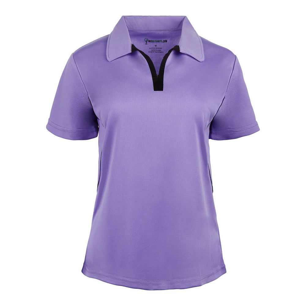 Game Redefined Cool Contrast Womens French Junior  Cut Short Sleeve Golf Shirt - mygolfshirts.com