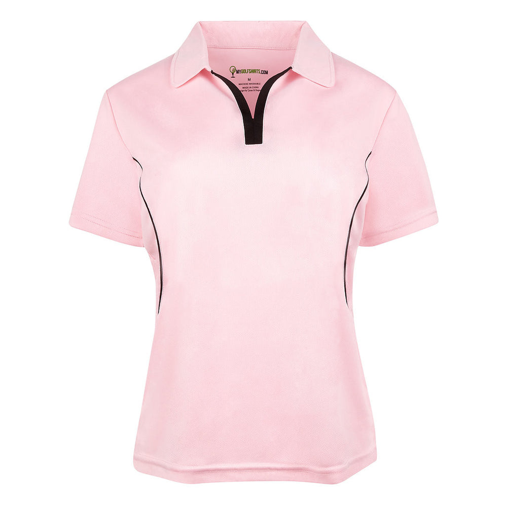 Game Redefined Cool Contrast Women French  Cut Short Sleeve Golf Shirt - mygolfshirts.com
