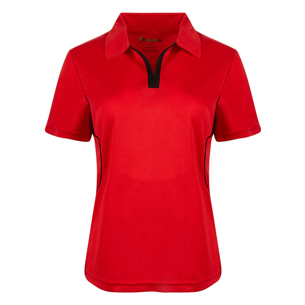Game Redefined Cool Contrast Womens French  Cut Short Sleeve Golf Shirt - mygolfshirts.com