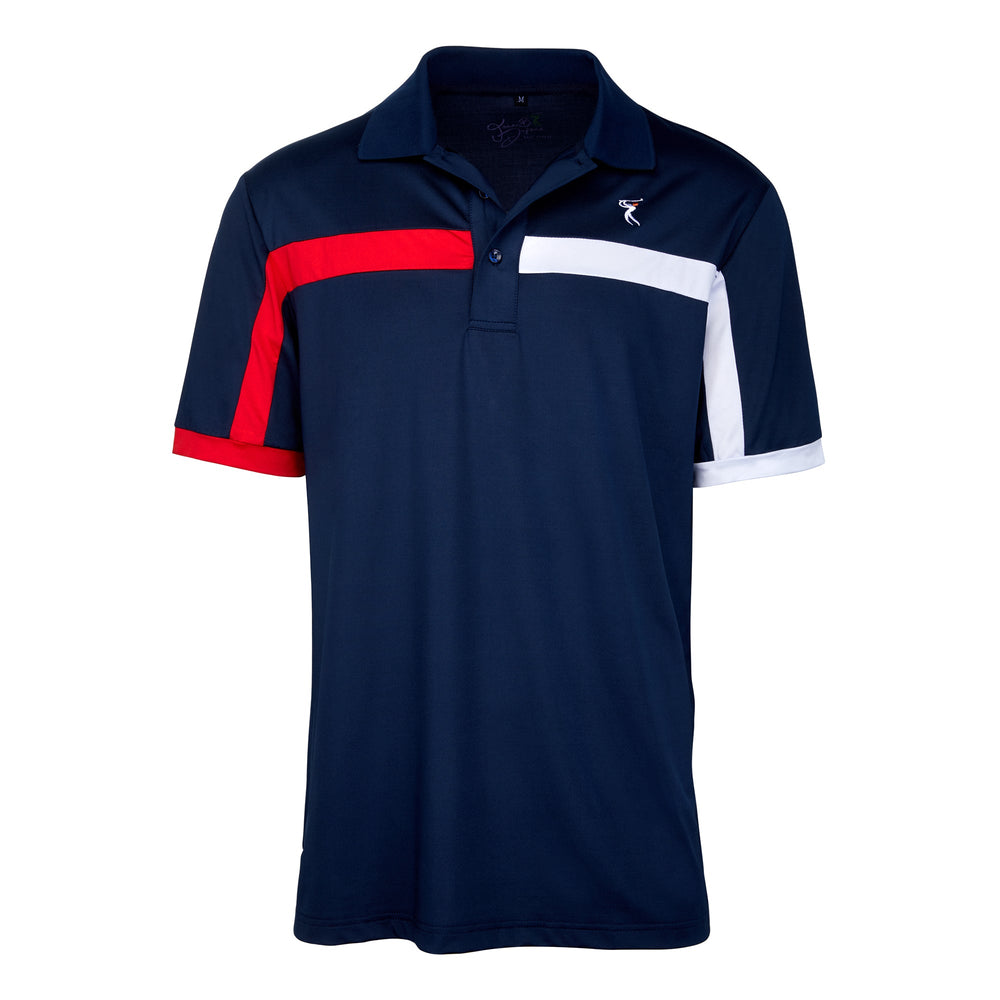 Dri-Fit French Golf Shirt- Men's Bold Two Colored Stripe  6945