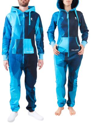 Abstract Navy Blue Adult Onesie