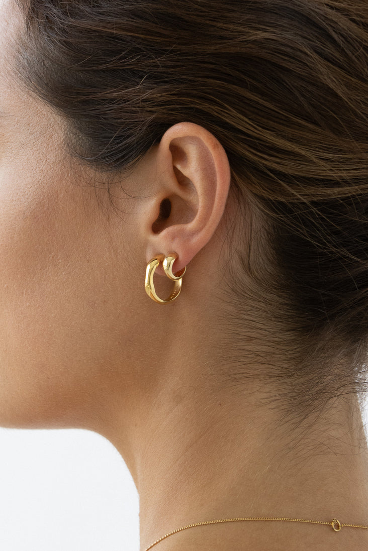 Waves Hoops - 14k Vermeil