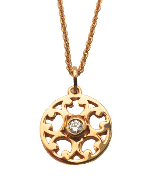 18 carat rose gold and diamond filigree designed pendant
