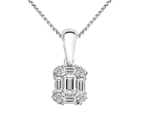 18 carat white gold diamond cluster pendant