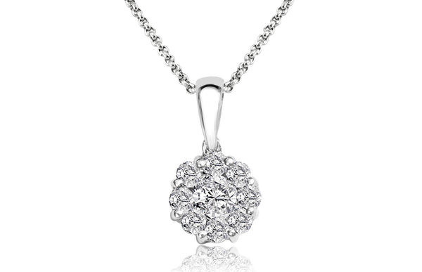 9 round brilliant diamonds with 18 carat white gold Italian made necklace