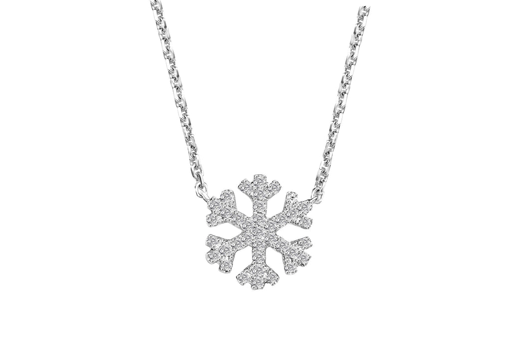 necklace in gold with diamond yellow snowflake